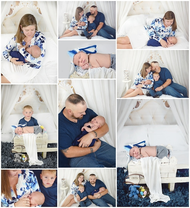 Newborn Lifestyle session on a white bed with parents and siblings
