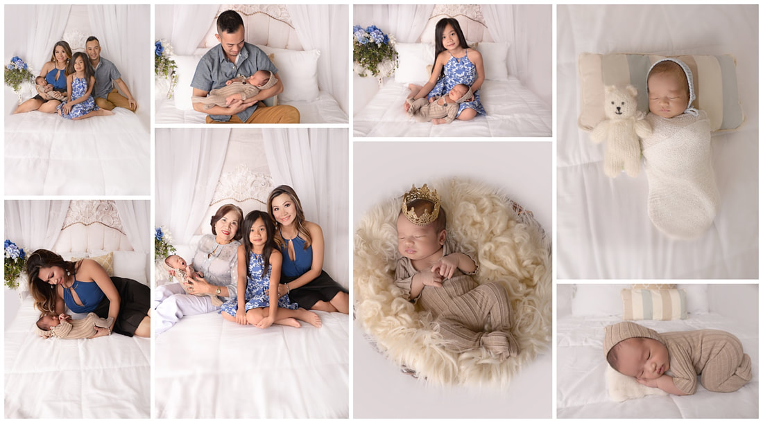 PictuNewborn Lifestyle session on a white bed with parents and siblingsre